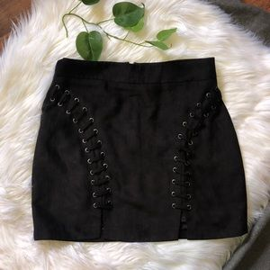 Forever 21 lace up suede mini skirt NWT